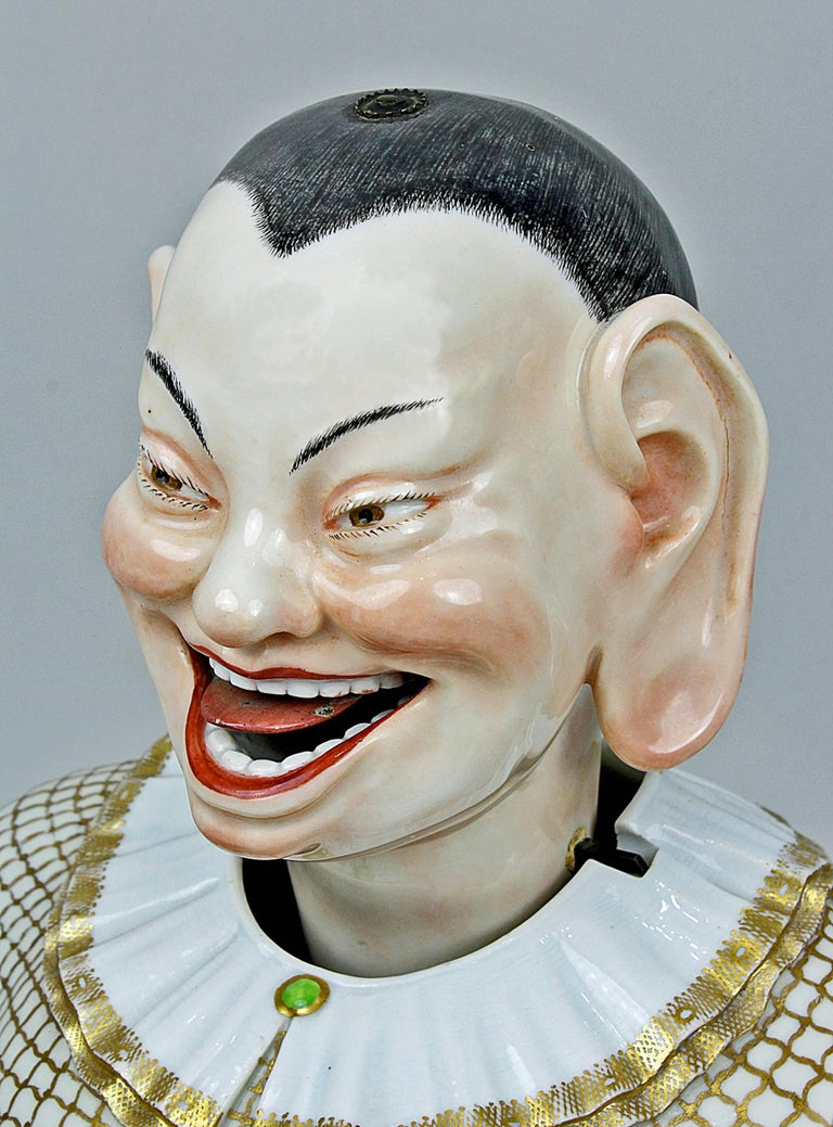 Painted Meissen Buddha Pair of Male and Female Movable Hands Head Tongue Kaendler For Sale