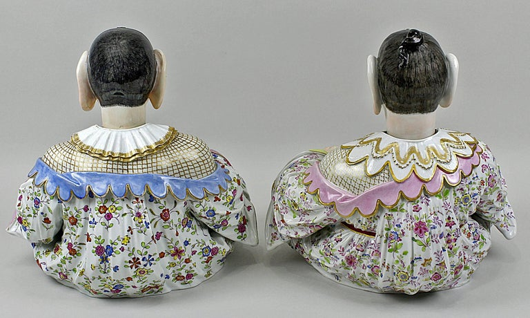 19th Century Meissen Buddha Pair of Male and Female Movable Hands Head Tongue Kaendler For Sale