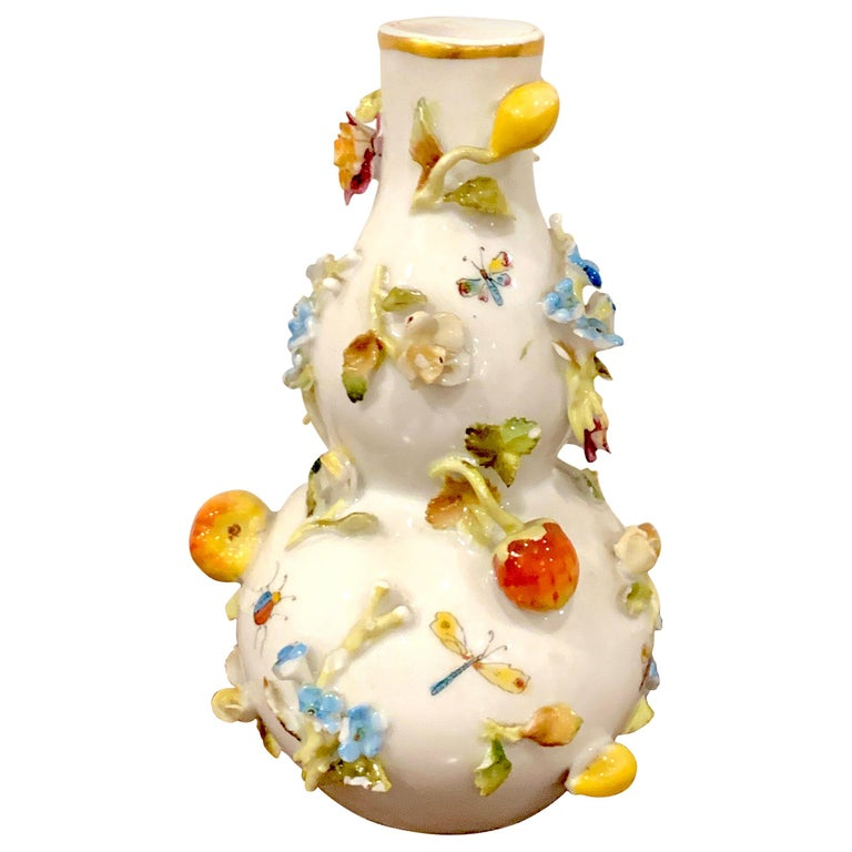 Meissen Cabinet Vase with Applied Fruits and Flowers For Sale