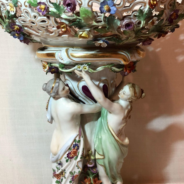Meissen Centerpiece Depicting the Three Charities or Graces Dancing in a Circle In Good Condition For Sale In Boston, MA