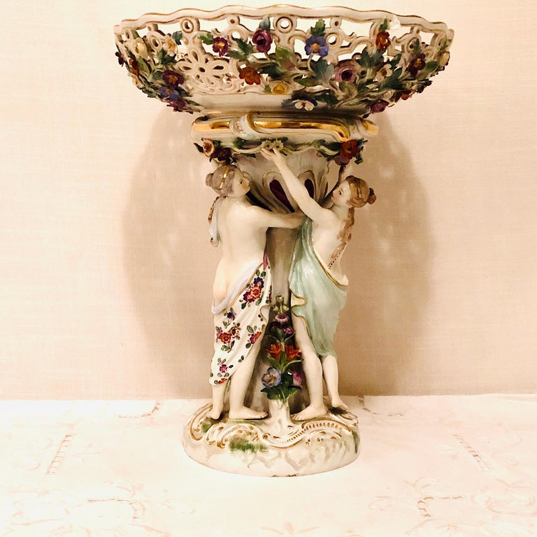 Late 19th Century Meissen Centerpiece Depicting the Three Charities or Graces Dancing in a Circle For Sale