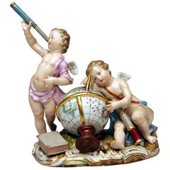 Meissen Cherubs Figurines Allegory of Astronomy Model 2460 by Punct, circa 1870