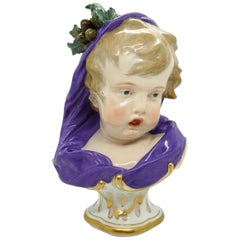 Meissen Child Bust 'Winter' from Series of The 4 Seasons, H. Schwabe, circa 1880