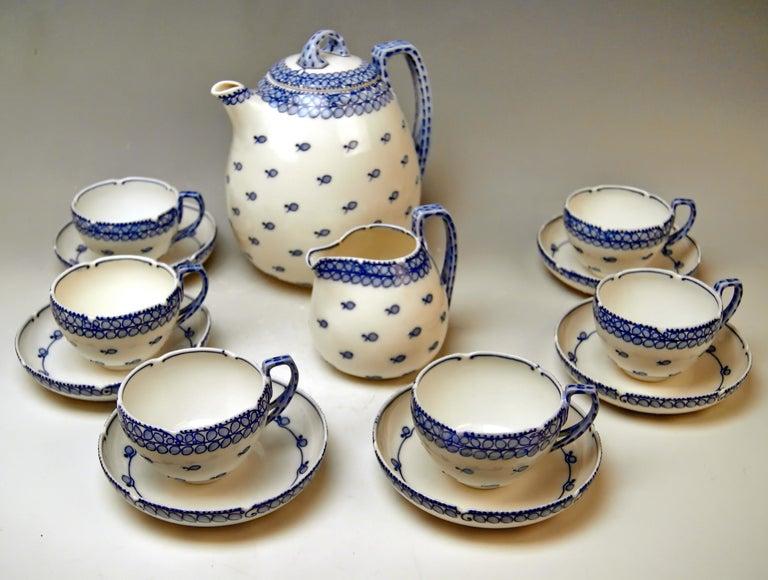 Art Nouveau Meissen Coffee Set Decor Blue Panicle Blaue Rispe Richard Riemerschmid For Sale