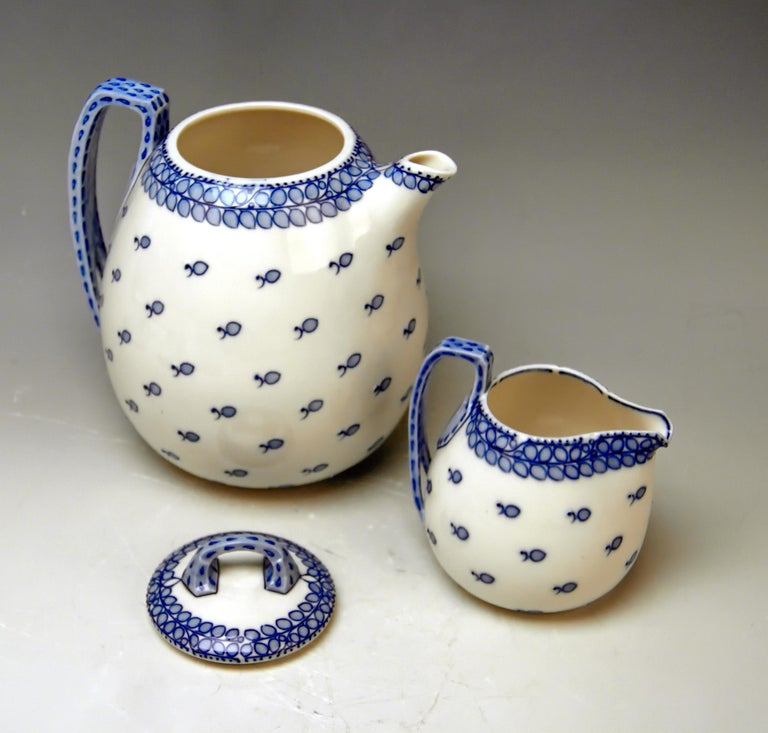German Meissen Coffee Set Decor Blue Panicle Blaue Rispe Richard Riemerschmid For Sale