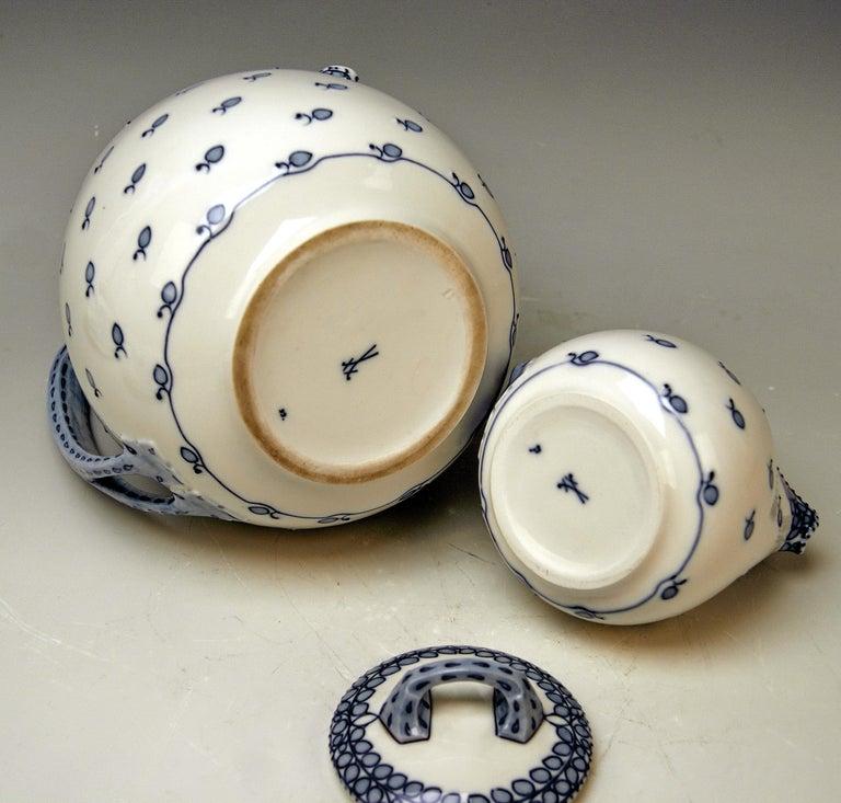 Hand-Painted Meissen Coffee Set Decor Blue Panicle Blaue Rispe Richard Riemerschmid For Sale