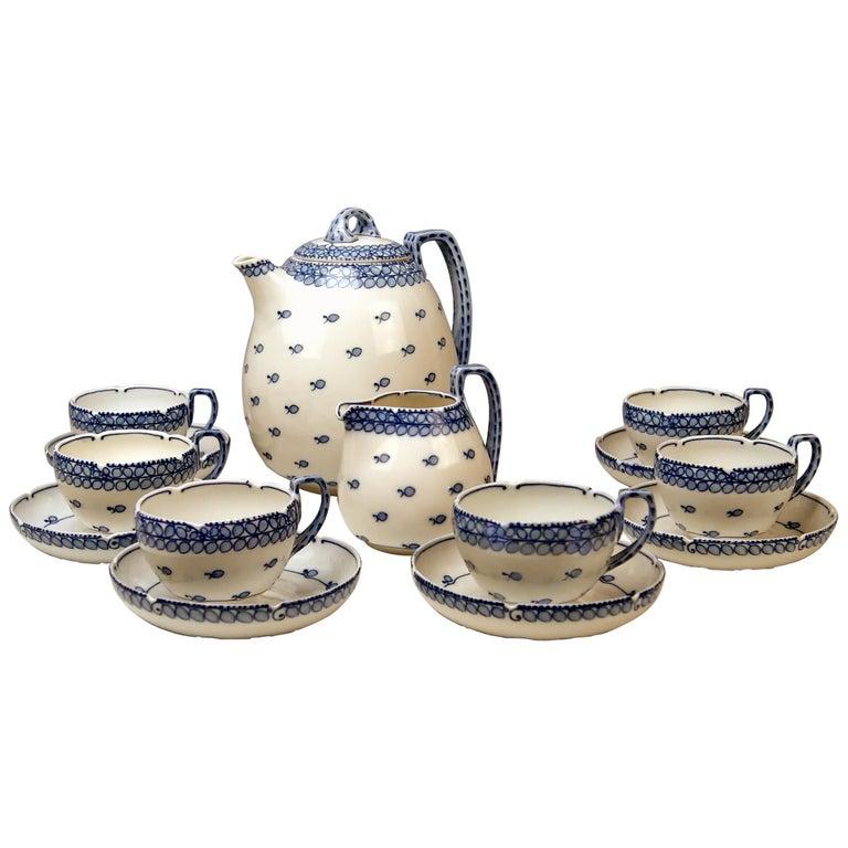 Meissen Coffee Set Decor Blue Panicle Blaue Rispe Richard Riemerschmid For Sale