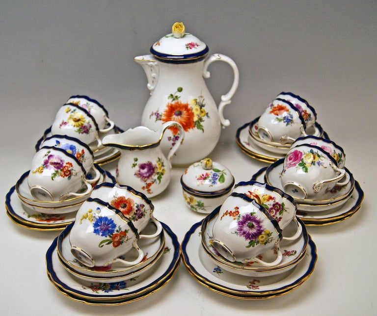 We invite you here to look at a splendid Meissen Coffee Set for twelve persons:   This coffee set is of FINEST APPEARANCE due to gorgeous various multicolored flower paintings:  Flower bouquets and smaller flowers laid on white porcelain = this