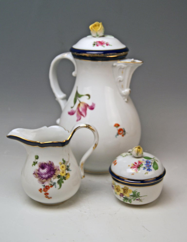 Other Meissen Coffee Set Bouquet Nr. 051110 12 Persons Pfeiffer Period 1924-1934 For Sale