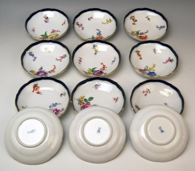 Meissen Coffee Set Bouquet Nr. 051110 12 Persons Pfeiffer Period 1924-1934 In Excellent Condition For Sale In Vienna, AT