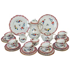 Meissen Coffee Tea Set Twelve Persons Purple Chinese Flowers Hens & Cocks