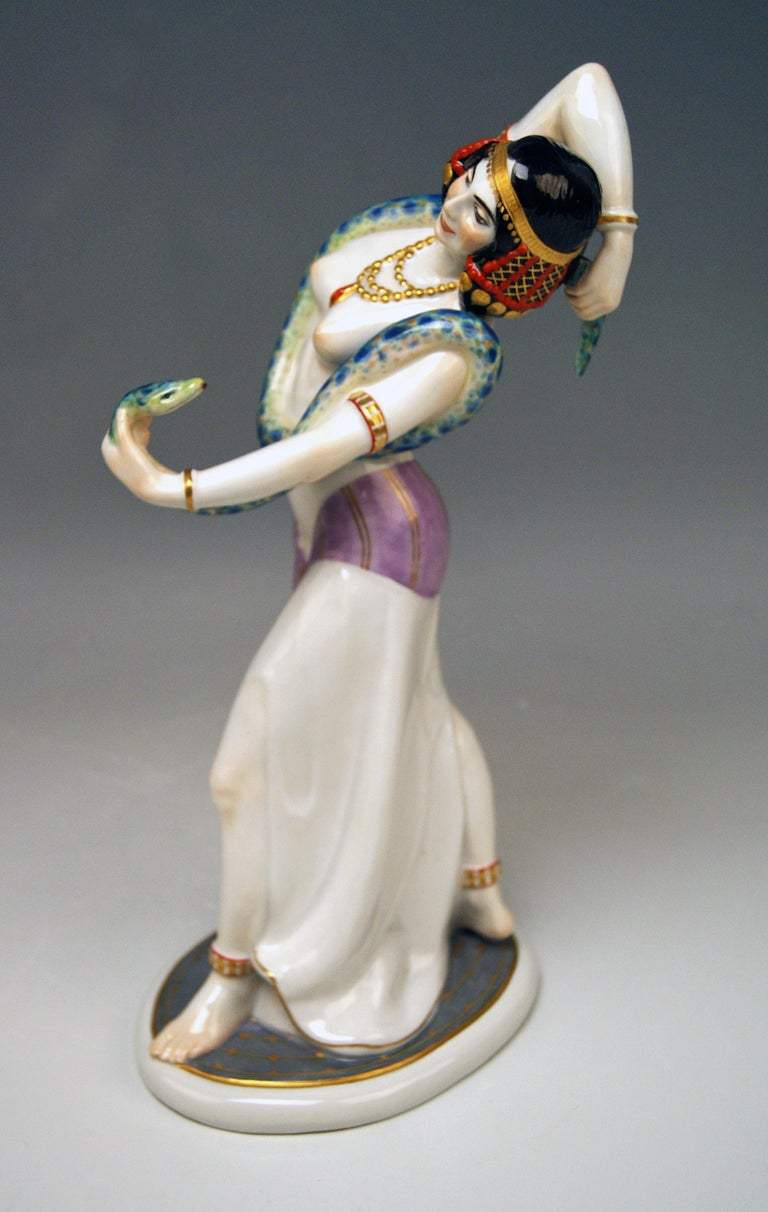 Meissen Egyptian Dancing Lady Model D 254 Max Bochmann Made circa 1914 Rarity For Sale 3