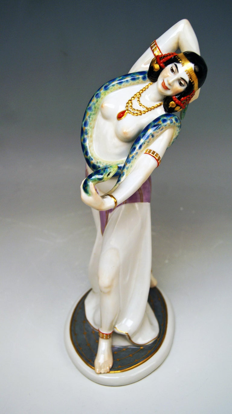 Meissen Most Remarkable Figurine: Egyptian Female Temple Dancer With Snake