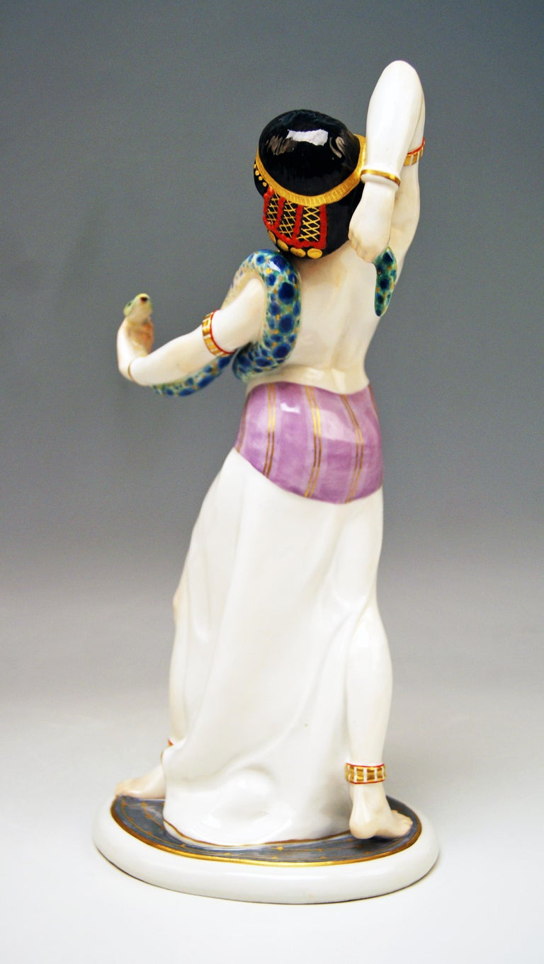 German Meissen Egyptian Dancing Lady Model D 254 Max Bochmann Made circa 1914 Rarity For Sale