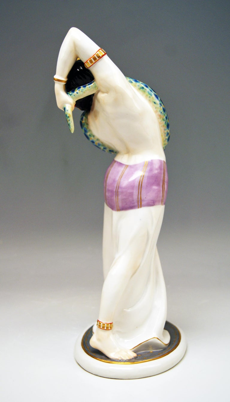 Painted Meissen Egyptian Dancing Lady Model D 254 Max Bochmann Made circa 1914 Rarity For Sale