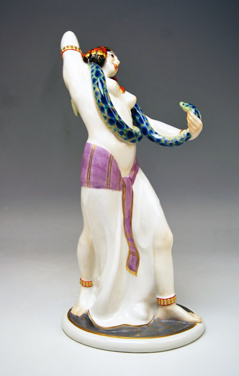 Meissen Egyptian Dancing Lady Model D 254 Max Bochmann Made circa 1914 Rarity In Excellent Condition For Sale In Vienna, AT