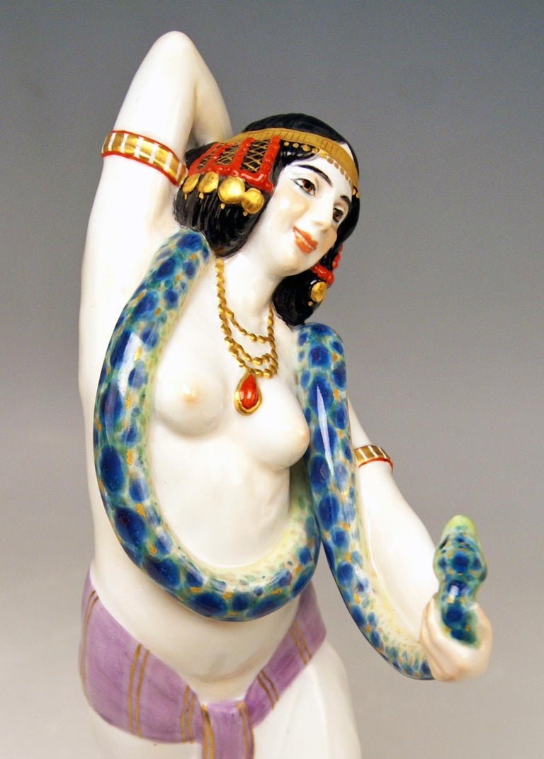 Early 20th Century Meissen Egyptian Dancing Lady Model D 254 Max Bochmann Made circa 1914 Rarity For Sale
