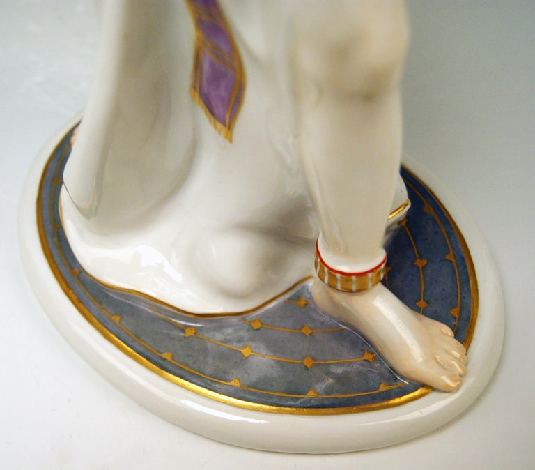 Porcelain Meissen Egyptian Dancing Lady Model D 254 Max Bochmann Made circa 1914 Rarity For Sale