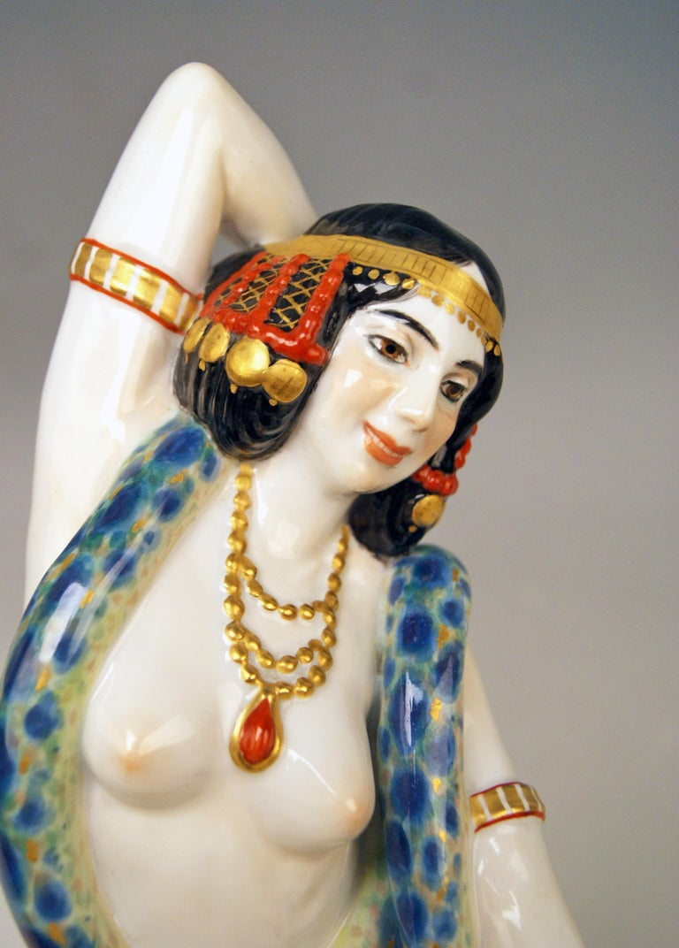 Meissen Egyptian Dancing Lady Model D 254 Max Bochmann Made circa 1914 Rarity For Sale 1