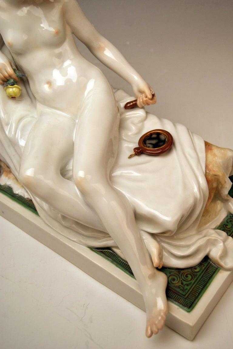 Meissen Female Nude Figurine with Mirror Model T 185 Robert Ockelmann 2