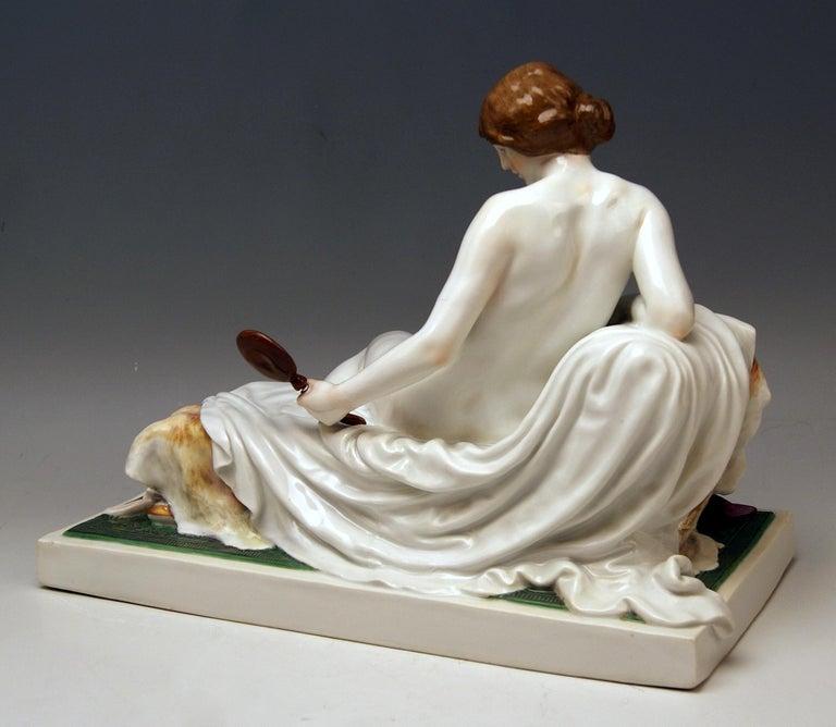 Art Nouveau Meissen Female Nude Figurine with Mirror Model T 185 Robert Ockelmann