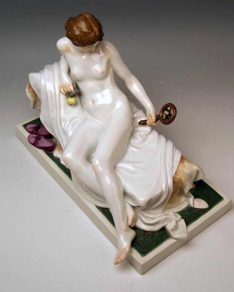Meissen Female Nude Figurine with Mirror Model T 185 Robert Ockelmann 1