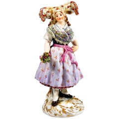Meissen Figure 'Lusatian Woman In Sunday Costume' by Hugo Spieler, Around 1900