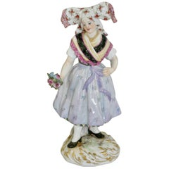 Meissen Figure of Lusatian Woman in National Costume by Hugo Speiler, circa 1887