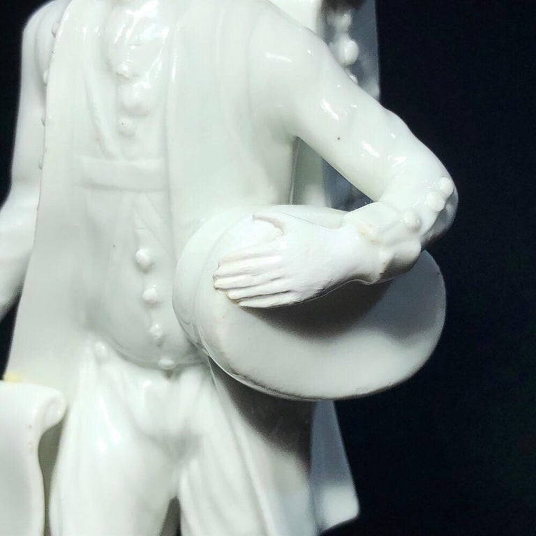 18th Century and Earlier Meissen Figure of the 'Print Seller', in the White, circa 1750 For Sale