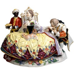 Meissen Figurine Group Crinoline Lady with Gallant Moor and Pug by Kaendler
