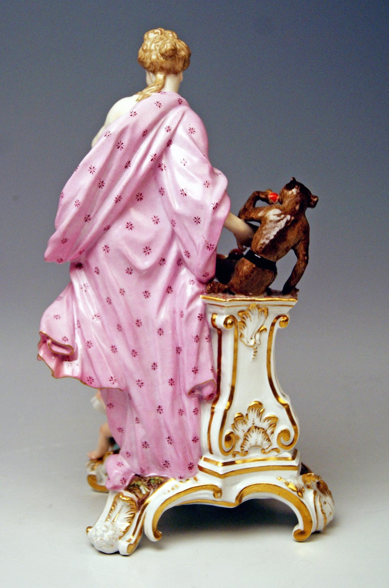 Meissen Gorgeous Figurine Group created by Johann Friedrich Eberlein (1695 - 1749) around year 1745:  Allegory of Taste - model 1042 It is a finest figurine group designed in baroque period of Meissen Manufactory when Meissen production of