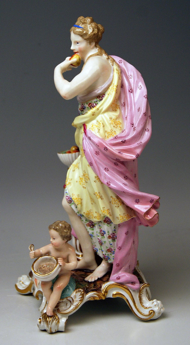Rococo Meissen Figurines Allegory of Taste Model 1042 by Eberlein Made circa 1860 For Sale