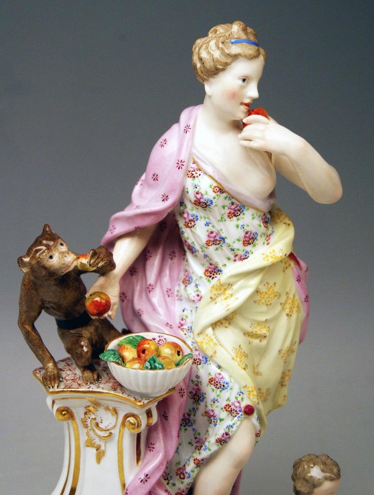 German Meissen Figurines Allegory of Taste Model 1042 by Eberlein Made circa 1860 For Sale