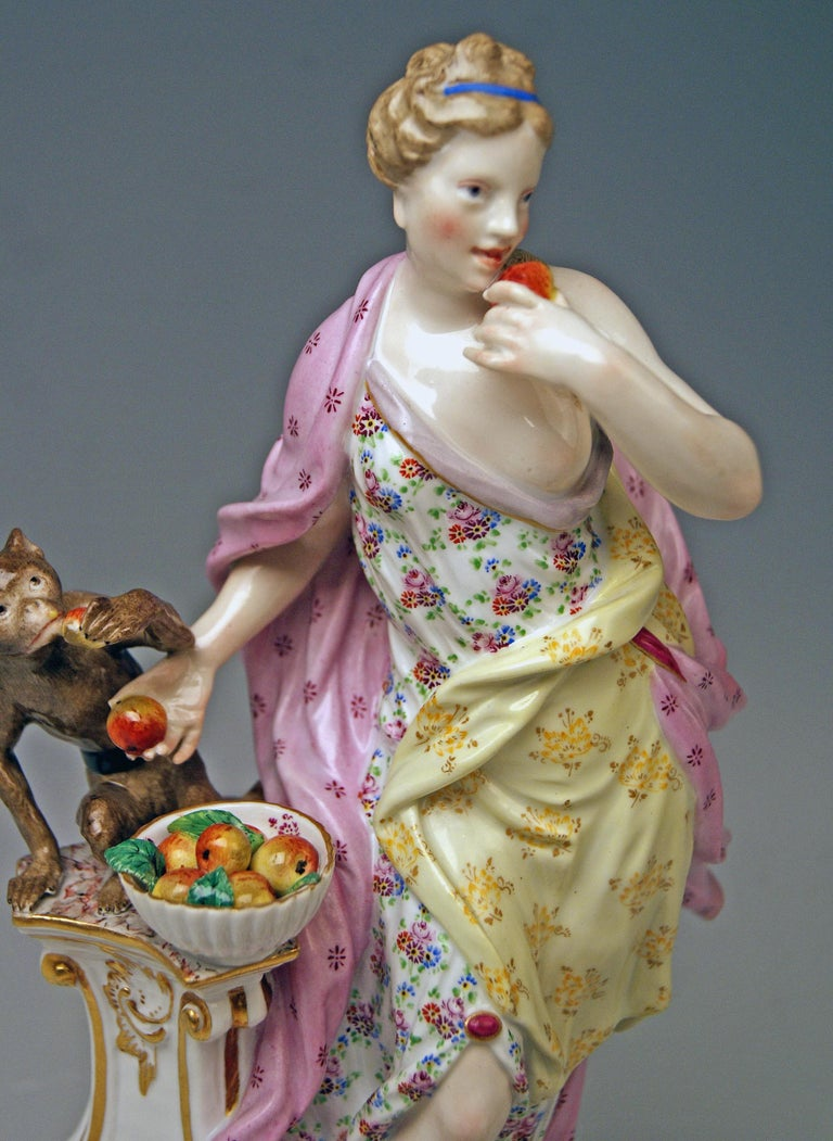 Mid-19th Century Meissen Figurines Allegory of Taste Model 1042 by Eberlein Made circa 1860 For Sale