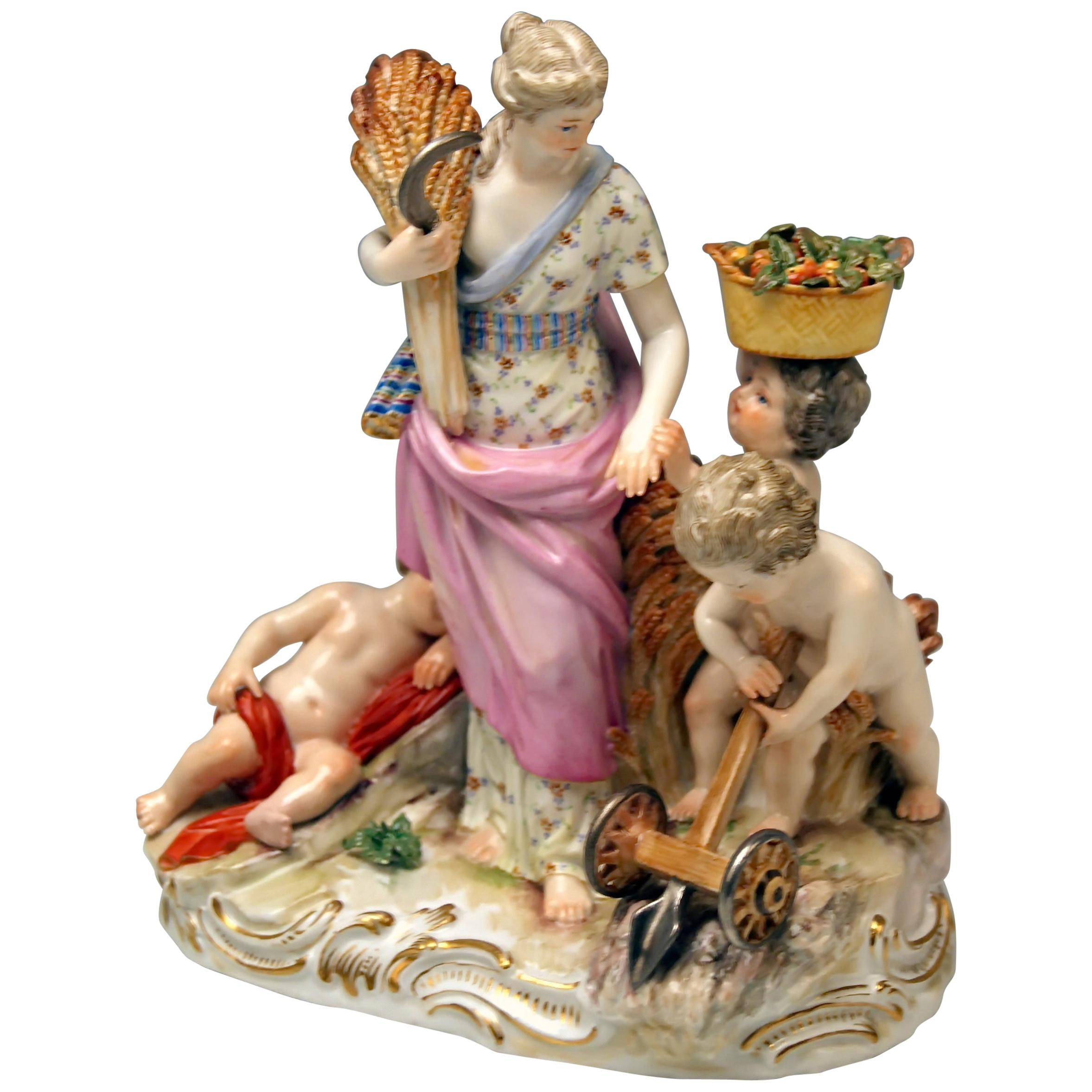 Meissen Figurines Ceres and Three Cherubs Agriculture Model D 3 Acier circa 1870