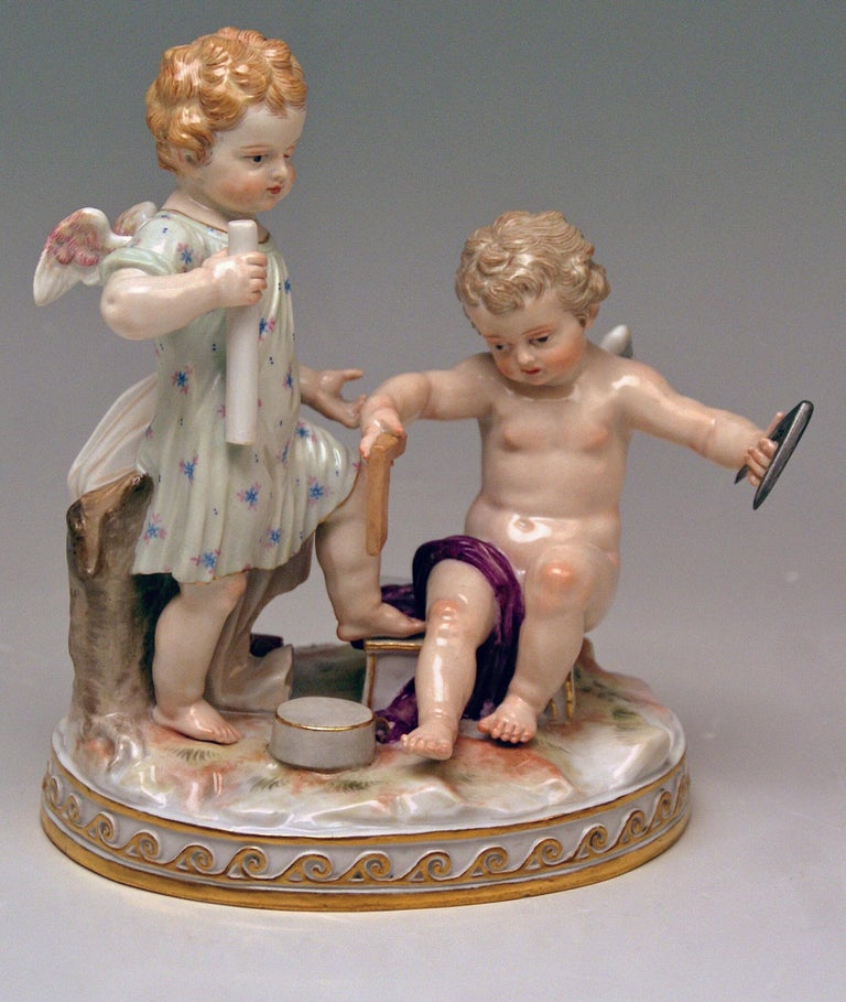 Meissen gorgeous figurine group: Cherubs personifying Allegory of Geometry The details are stunningly sculptured = finest modelling!  Design: Michel Victor Acier (1736-1799) / model C 47 created 1768-1770 The sculptor was born at Versailles /