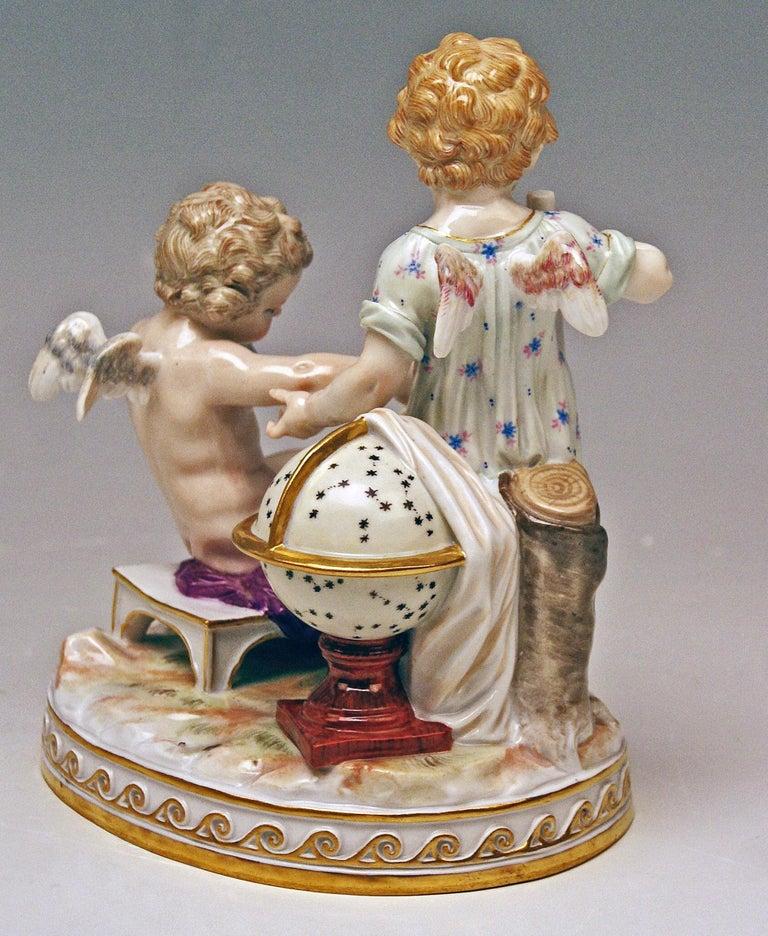 Rococo Meissen Figurines Cherubs Allegory of Geometry Model C47, Acier Made circa 1870 For Sale
