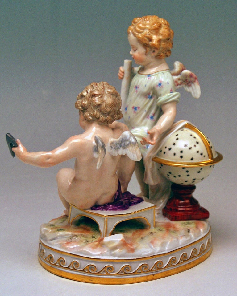 German Meissen Figurines Cherubs Allegory of Geometry Model C47, Acier Made circa 1870 For Sale