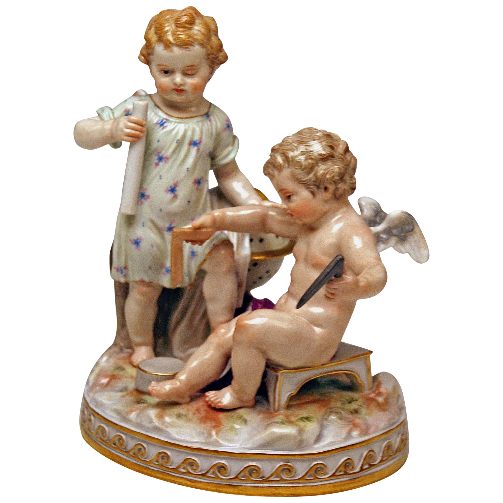 Meissen Figurines Cherubs Allegory of Geometry Model C47, Acier Made circa 1870