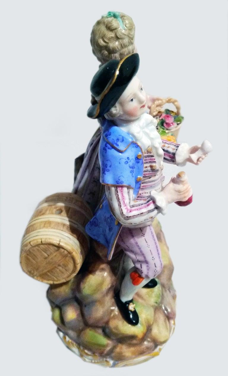 Rococo Meissen Figurines Cherubs Wine Growers Model C 60 by Acier Made circa 1870 For Sale