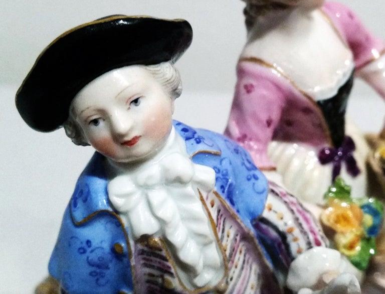 German Meissen Figurines Cherubs Wine Growers Model C 60 by Acier Made circa 1870 For Sale