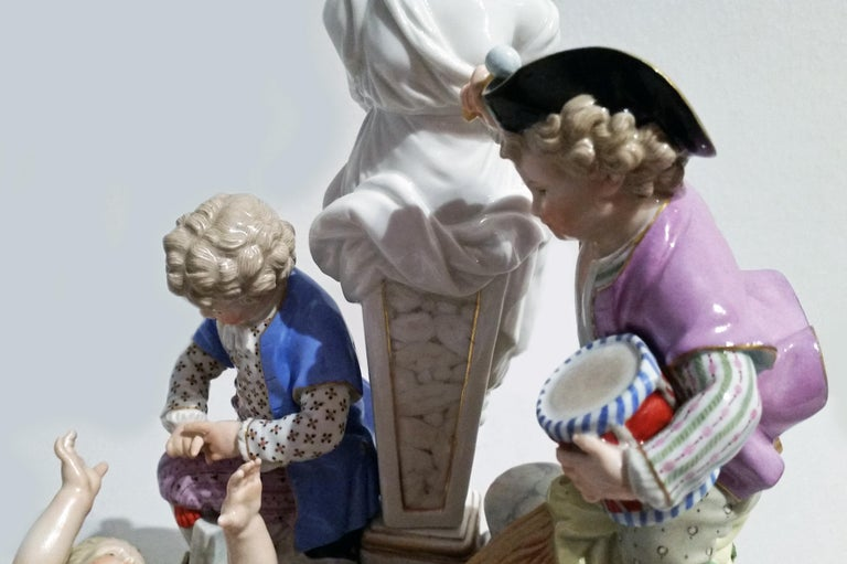 Rococo Meissen Figurines Cherubs with Swing Model G 32 by Acier Made circa 1920 For Sale