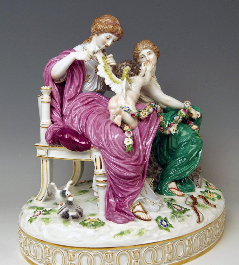 Empire Meissen Figurines Cupid Being in Dire Straits J 82 by Juechtzer Made, circa 1860 For Sale