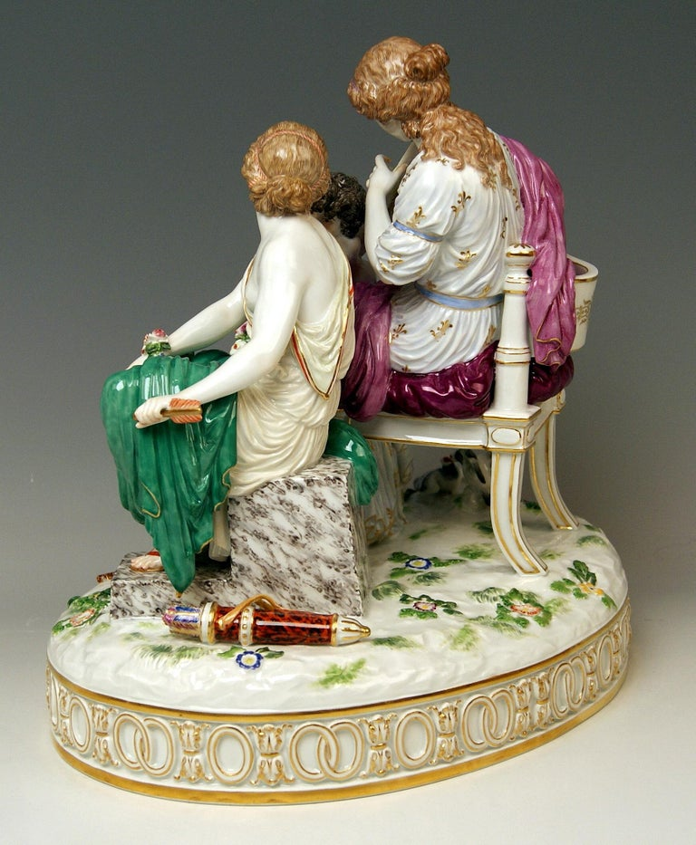 Painted Meissen Figurines Cupid Being in Dire Straits J 82 by Juechtzer Made, circa 1860 For Sale