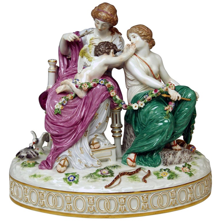 Meissen Figurines Cupid Being in Dire Straits J 82 by Juechtzer Made, circa 1860 For Sale