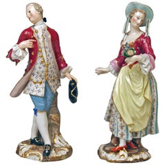Meissen Figurines Lady with Flowers Man with Hat Models 2342 2346 Kaendler, 1850