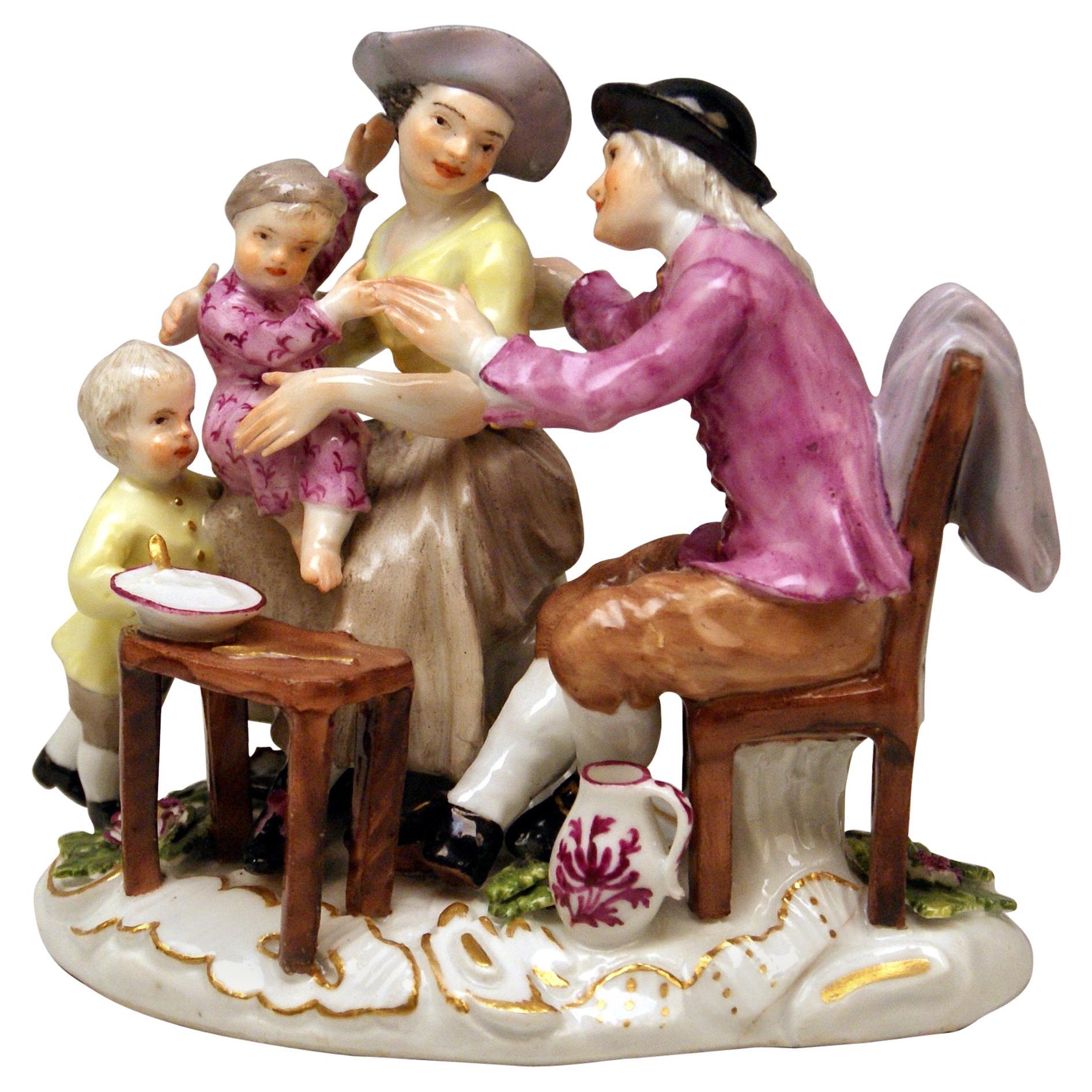 Meissen Figurines The Farmer Family Model 2235 by Kaendler c. 1755-1760