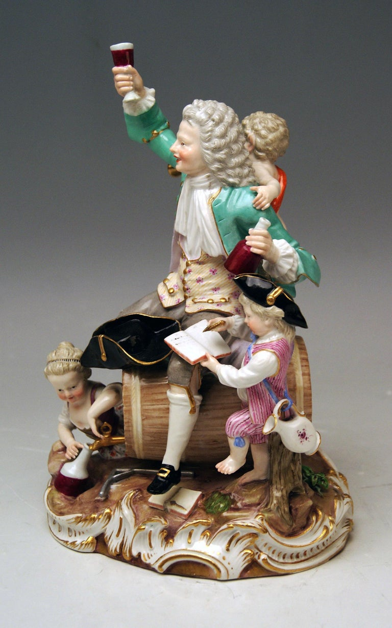 Meissen quite rare figurine group: the so-said German Bacchus