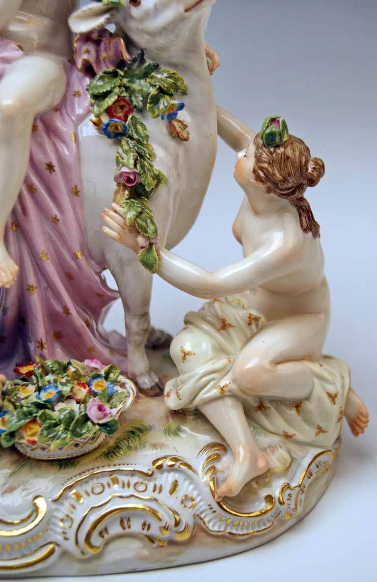Porcelain Meissen Figurines The Rape of Europe Model 2697 by Eberlein Made circa 1860 For Sale