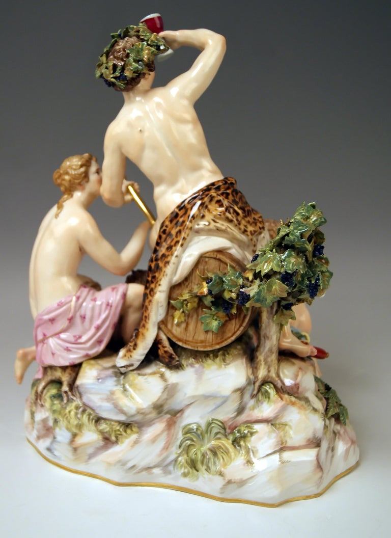 German Meissen Figurines with Bacchus Cupid Satyr Nymph by E. A. Leuteritz For Sale